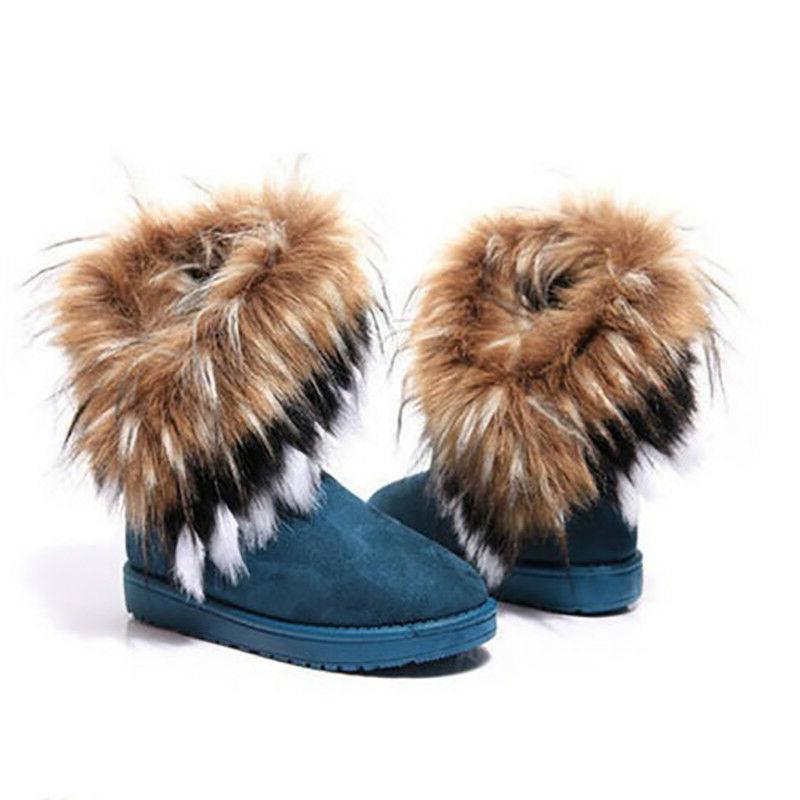 US Winter Warm Suede Fox Fur Snow Boots Platform