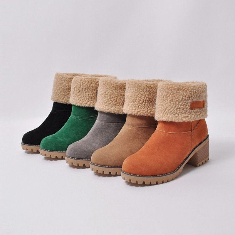 US Snow Warm Winter Faux Suede Square Ankle