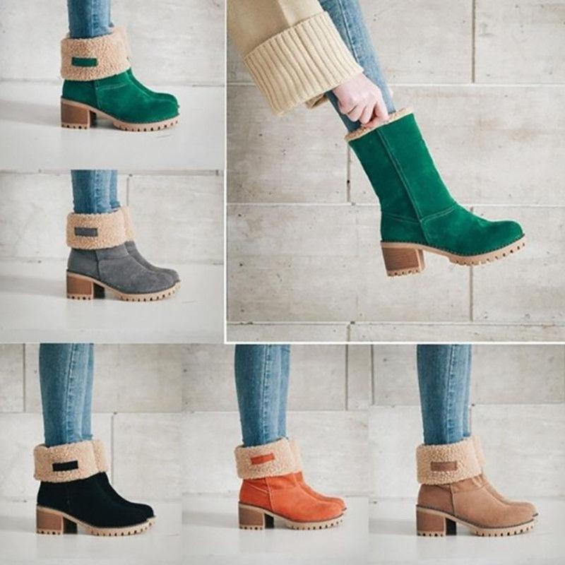 US Womens Warm Winter Fur Suede Square Ankle