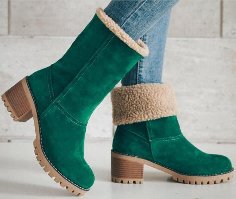 US Snow Booties Warm Winter Fur Suede Ankle Boots