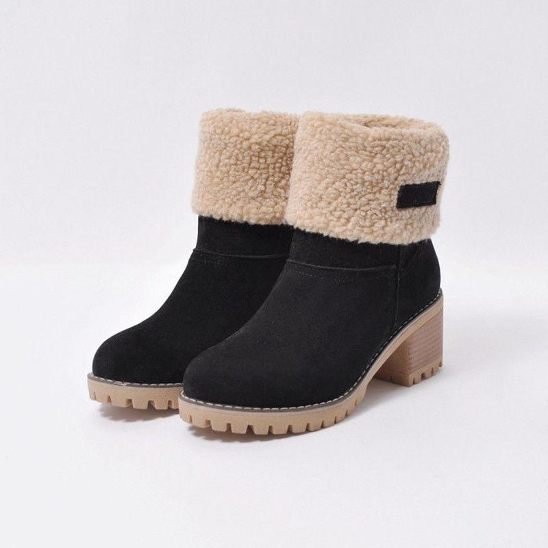 US Womens Snow Warm Winter Fur Suede Shoes Square Heels Ankle Boots