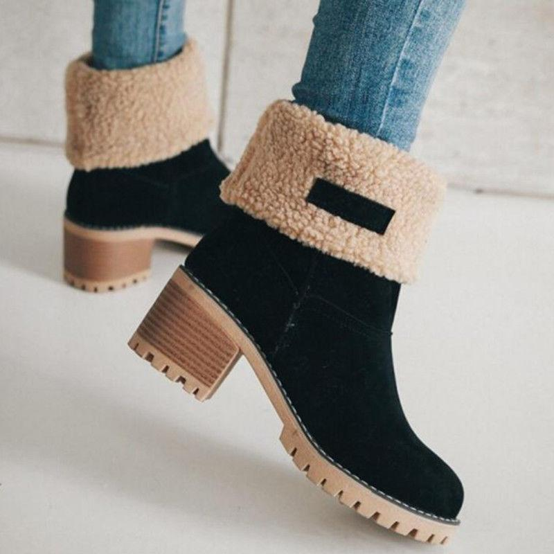 US Womens Warm Suede Square Ankle