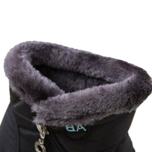Waterproof Women Snow Fur-lined Slip On Warm US
