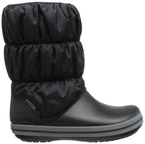 crocs Women's Puff Boot Wom Snow Boot, Black/Charcoal, 7