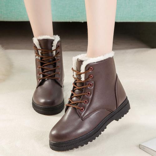 Winter Womens Leather Snow Boots Fur Lined Ankle Shoes Warm