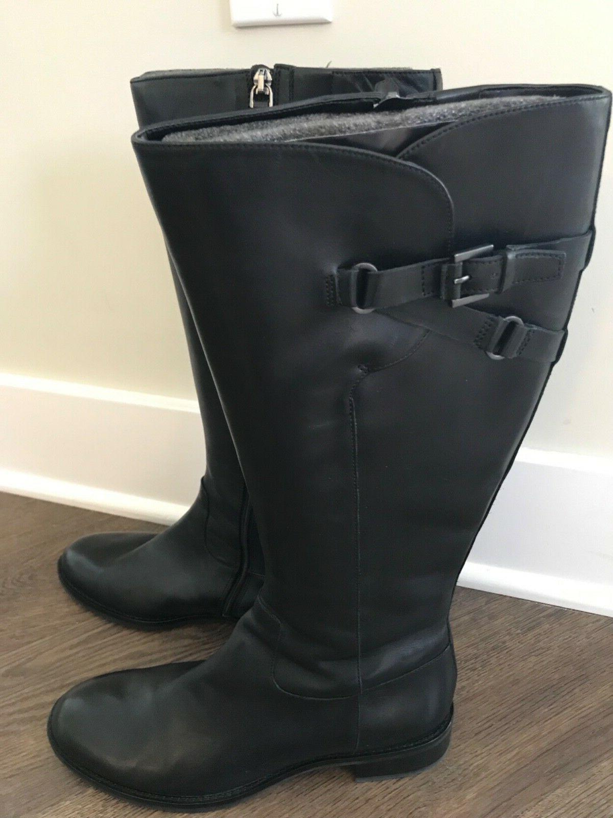 ECCO Buckle Black Leather Riding Knee High Zip EU 42