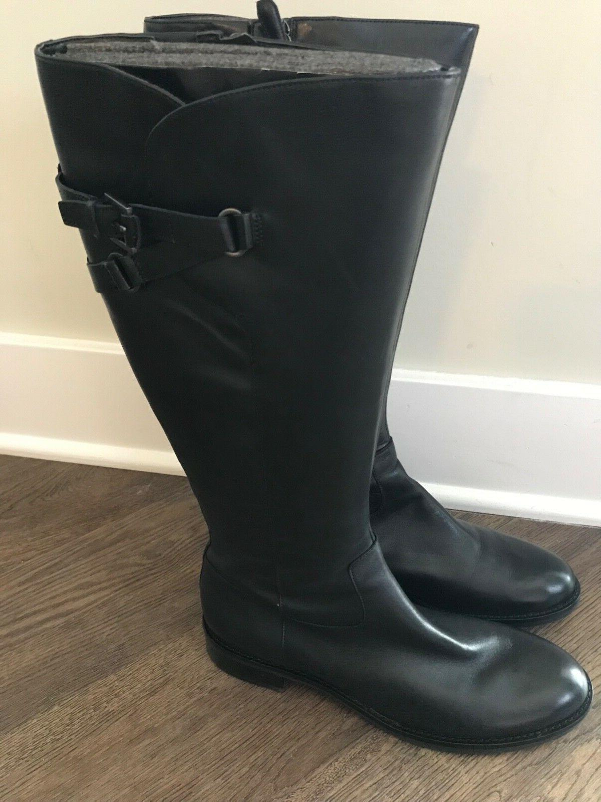 ECCO Buckle Black Leather Riding Knee Zip Boots