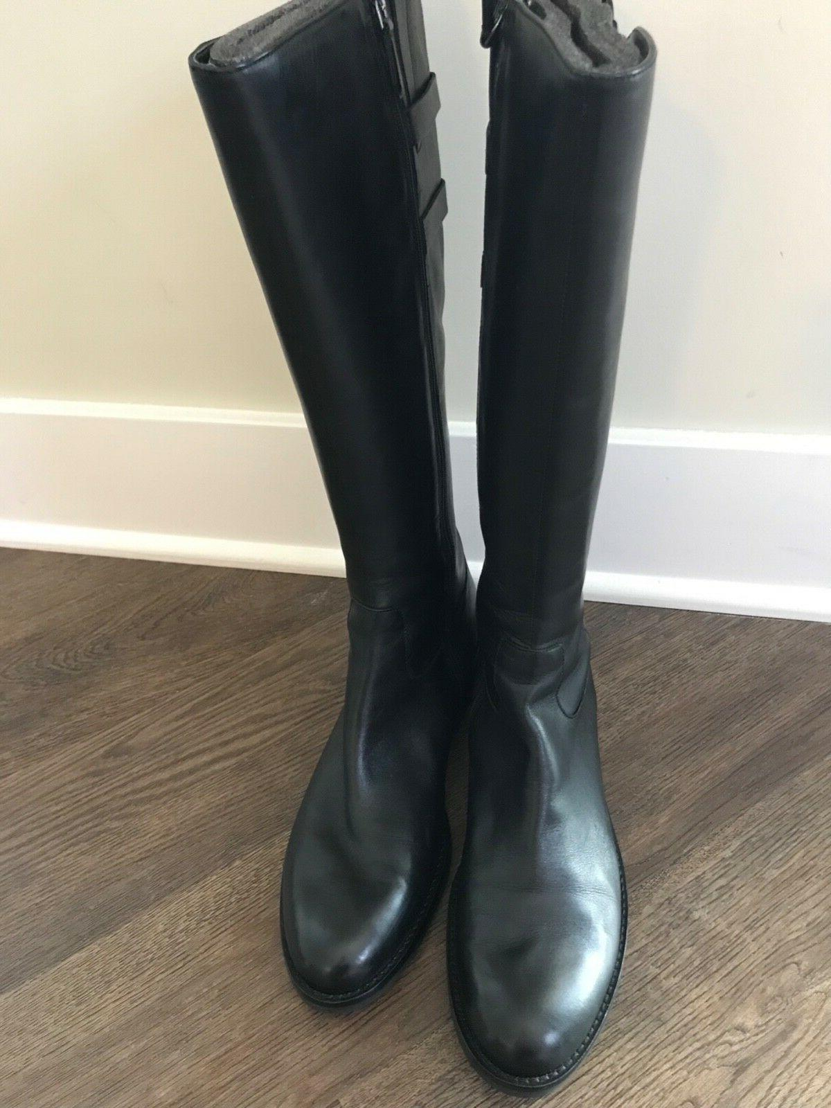 ECCO Women Buckle Black Leather Riding Knee High Zip Boots 42