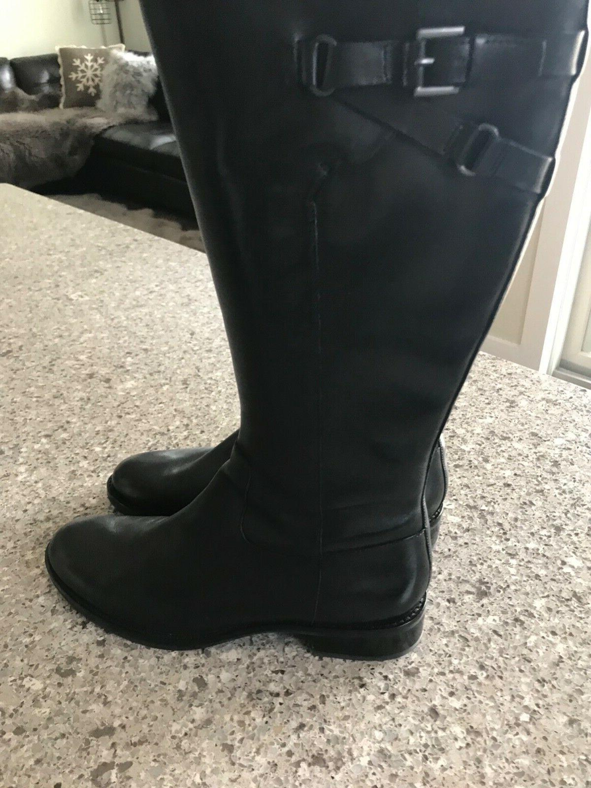 women buckle black leather riding knee high