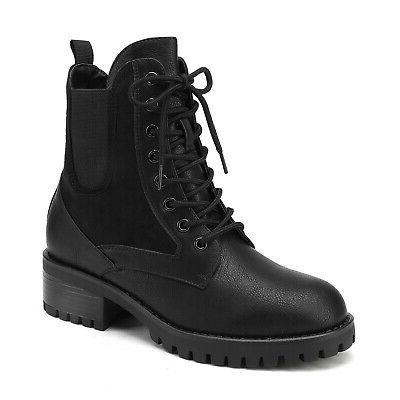 DREAM PAIRS Chelsea Ankle Up Zip Up Casual Combat
