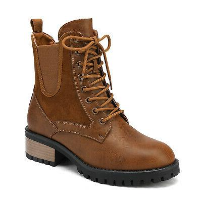 DREAM PAIRS Women Fashion Chelsea Boots Up Zip Up Casual Combat Shoes