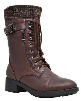 DREAM PAIRS Womens Combat Boots Lace Up Mid Calf Warm Lined