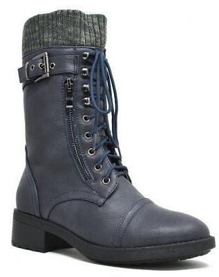 DREAM Womens Combat Up Mid Lined Boots