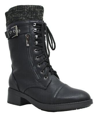 DREAM PAIRS Womens Combat Lace Mid Warm Lined Boots