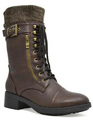 DREAM PAIRS Womens Combat Boots Lace Mid Lined Boots
