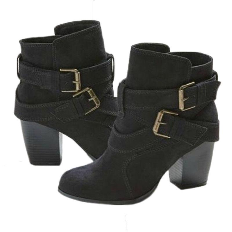 Womens Ladies Ankle Low Block Buckle Casual US