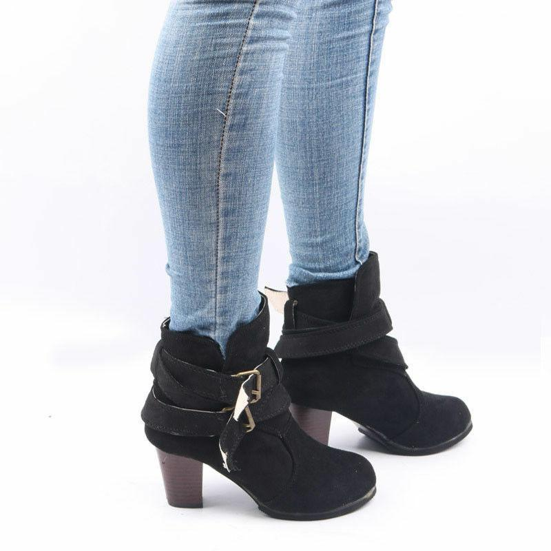 Womens High Heel Buckle Ankle Pointed Toe Booties Autumn Winter Shoes Size