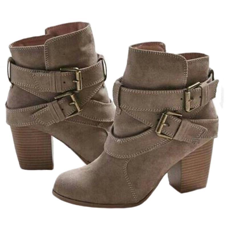 Womens Ankle Low Heels Buckle US