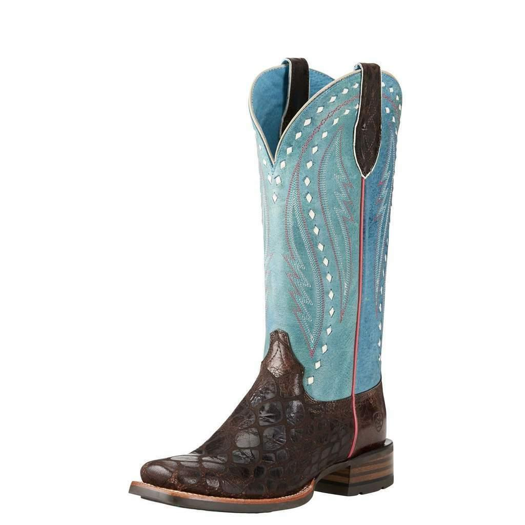 ARIAT Women's Callahan Chocolate Turquoise Square Toe Wester