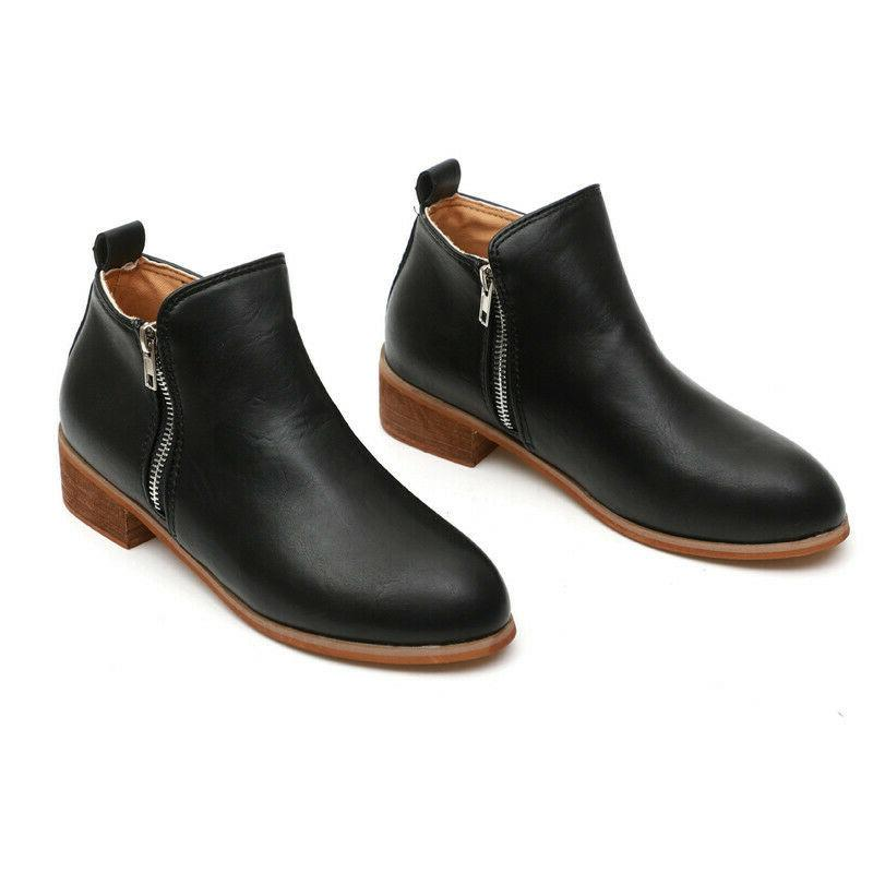 Women's Casual Booties Heels Ankle Round Toe Shoes