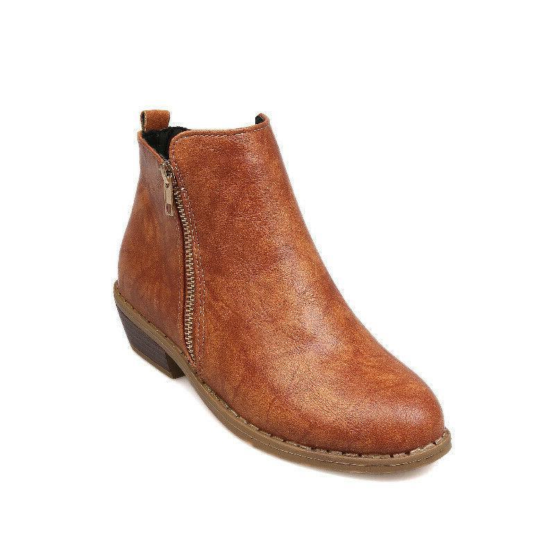 Women's Booties Heels Round Toe Shoes Size
