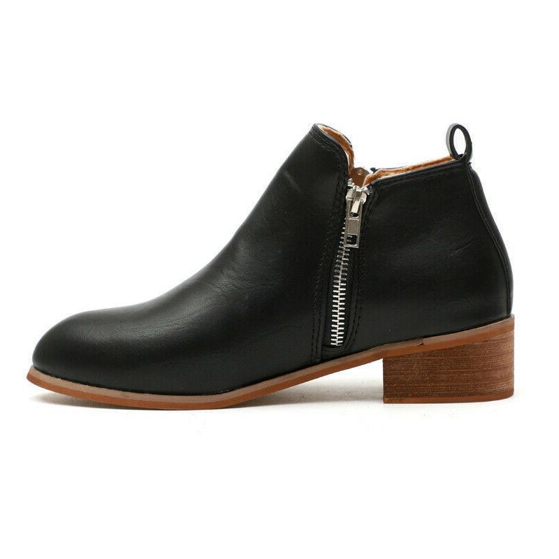 Women's Booties Heels Block Round Toe Zip Up Shoes Size