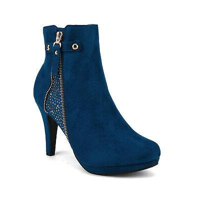 DREAM PAIRS Womens Ankle Boots High Heels Zip Booties