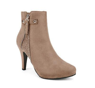 DREAM PAIRS Womens Ankle Boots Stiletto High Heels Up Winter Booties