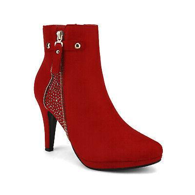 DREAM PAIRS Ankle Stiletto Heels Zip Up Booties