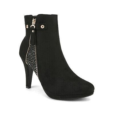 DREAM PAIRS Ankle Boots High Heels Zip Booties
