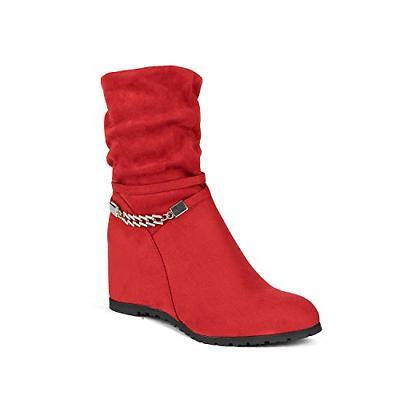 6cbe00255229c DREAM PAIRS Women's Coline RED Mid Calf High Wedge Boots Siz