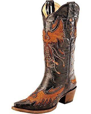 Corral Women's Distressed Eagle Inlay Orange Rhinestone Cowg