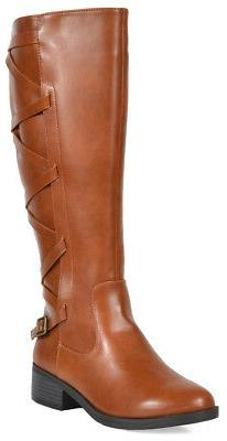 TOETOS Women Fashion Low Heel Knee High Lady Leg Calf Riding