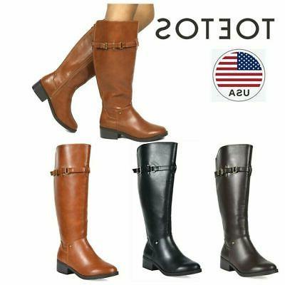 TOETOS Women's Fashion Side Zipper Knee High Riding Boots