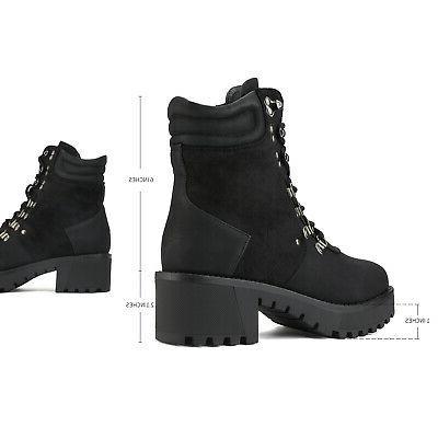 DREAM PAIRS Combat Mid Heel Shoes