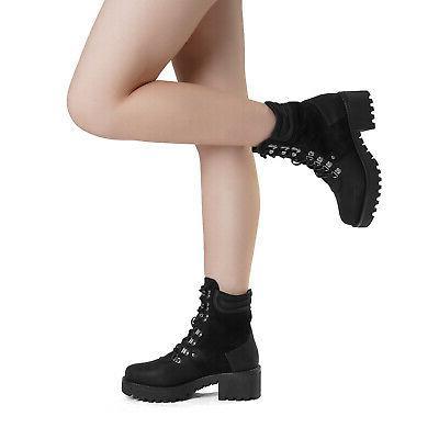 DREAM Women's Fur Ankle Boots Lace-Up Combat Mid Shoes
