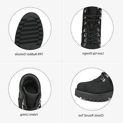 DREAM Women's Faux Fur Ankle Boots Lace-Up Combat Mid Shoes