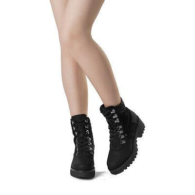 DREAM PAIRS Women's Fur Lace-Up