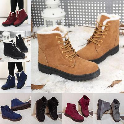 Women's Fur Thicken Ankle Snow Boots Suede Winter Warm Outdo