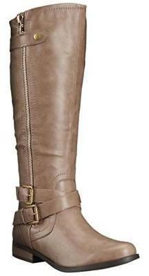 Rampage Women's Hansel Wide Calf  Knee-High Riding Boot Zipp