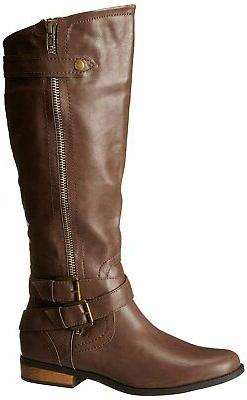 Rampage Women's Hansel Zipper and Buckle Knee-High Riding Bo