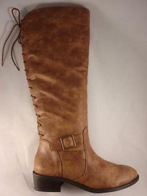 Women's RAMPAGE IFFY Brown Knee High Lace Pull On Riding Dre