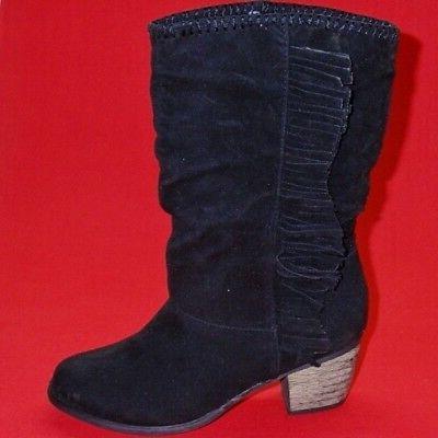 Women's RAMPAGE INGEBORGH Black Mid Calf Heels Fashion Casua