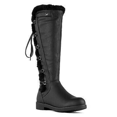 DREAM High Faux Fur Winter Snow Lace Zip Combat Boots