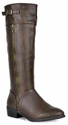 Women's Knee High Winter Riding Boots Fashion Zipper Low Hee