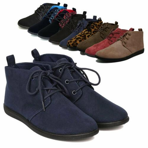 Women Casual Lace Up Soft Oxford Flat Heel Ankle Boots Booti