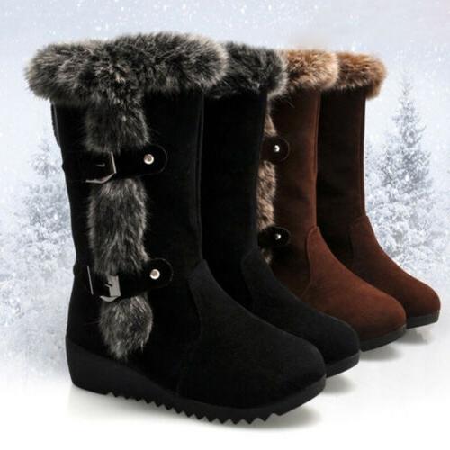 Women's Wedge Snow Fur Winter Buckle Calf