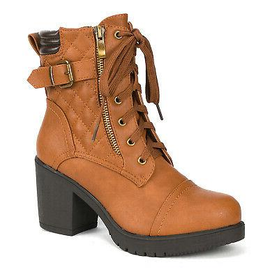 DREAM PAIRS Women's Chunky High Heel Ankle Boots Combat