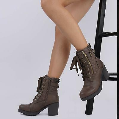 DREAM PAIRS Women's Chunky Heel Boots Combat Booties