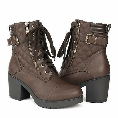 DREAM Women's Chunky Heel Ankle Boots Combat Booties